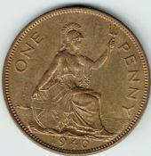George VI, One Penny 1940 (Scarcer Year), AUNC, M9027